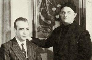 Ο Νίκος Καββαδίας μαζί με το συγγραφέα Στρατή Στίρκα