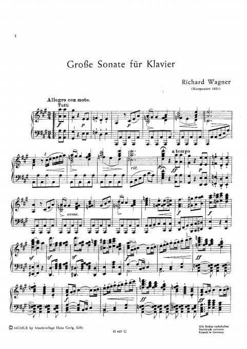 Τα εναρκτήρια μέτρα της Σονάτας αρ. 2 για πιάνο του Ρ. Βάγκνερ