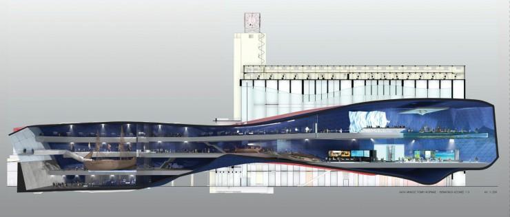 SILO Πειραιά- Σχέδιο Τομής του νέου Μουσείου Ενάλιας Αρχαιολογίας