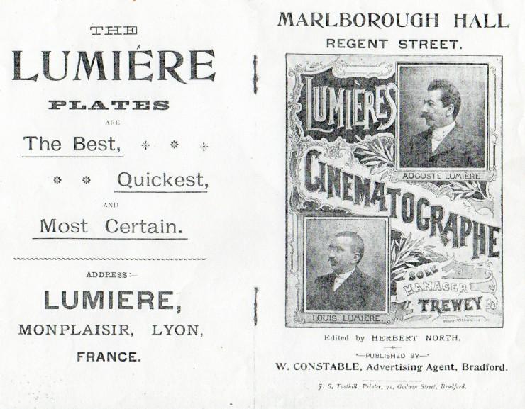 Διαφημιστικό poster για τις πρώτες προβολές των ταινιών των αδερφών Λιμιέρ στην Αγγλία