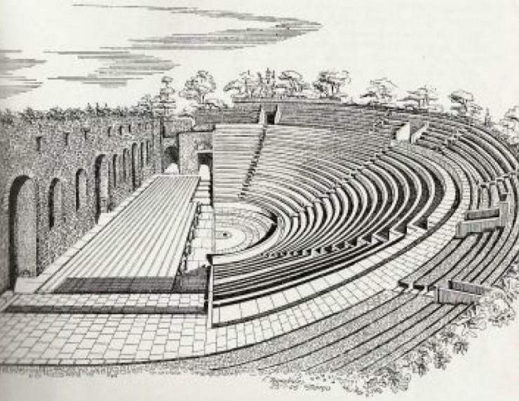 Ρωμαϊκό Ωδείο γκραβούρα